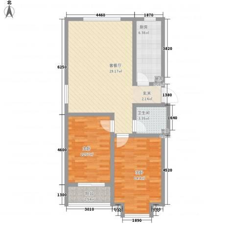 北里洋房2室1厅1卫1厨68.46㎡户型图