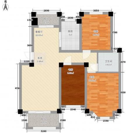 丰惠华丽家族3室1厅1卫1厨113.00㎡户型图