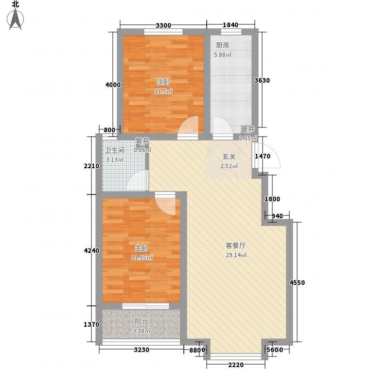 北里洋房3.61㎡D户型2室2厅1卫1厨