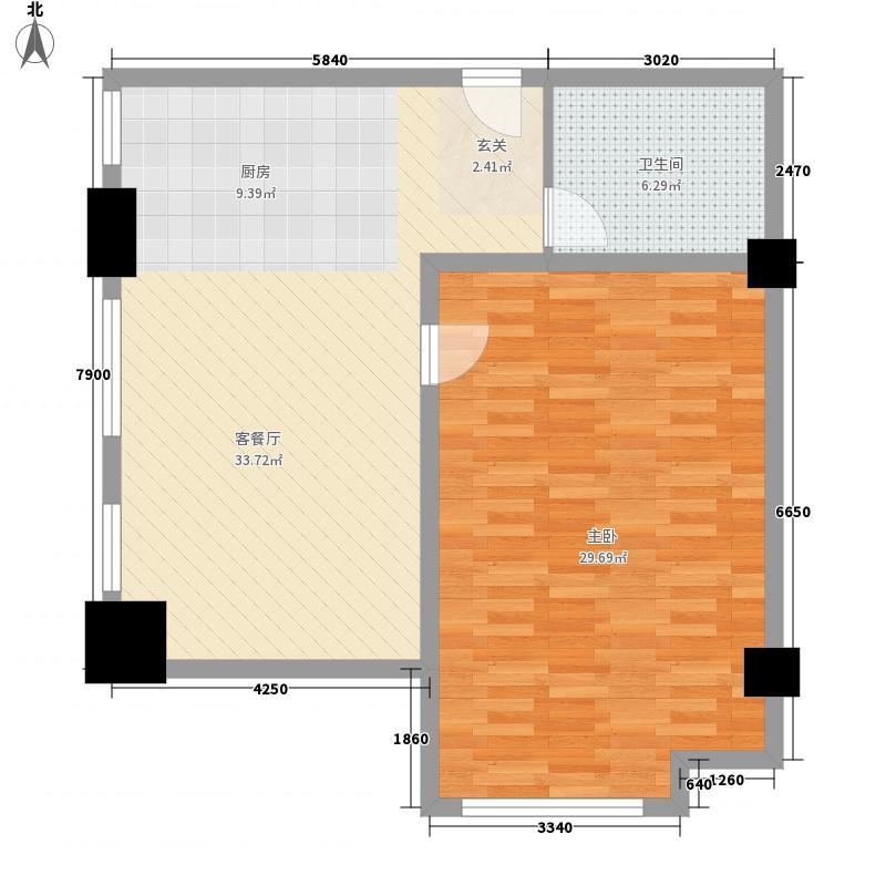 旅游开发大厦户型1室1厅1卫1厨