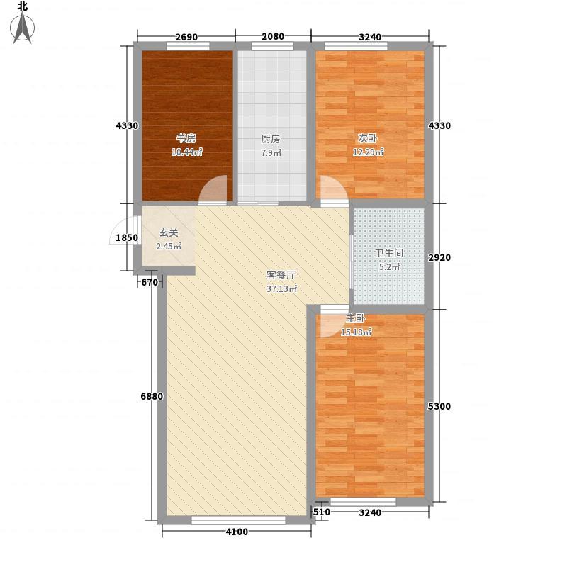 万龙名城128.16㎡一期B11户型3室2厅1卫