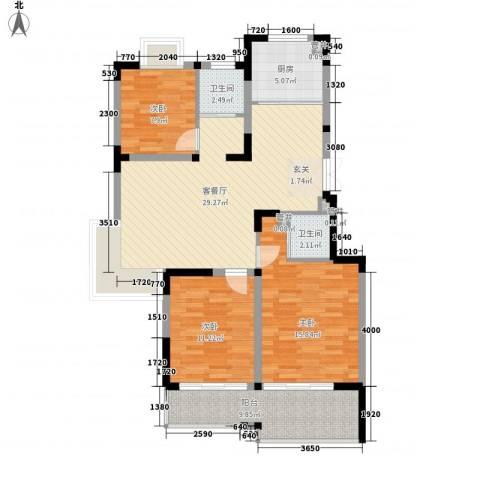 合鑫广场3室1厅2卫1厨84.04㎡户型图
