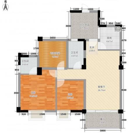 南桥春天2室1厅2卫1厨83.89㎡户型图