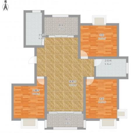 金和家园3室1厅2卫1厨146.00㎡户型图