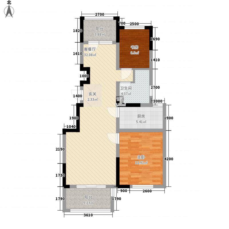 通宇林景熙园项目88.82㎡一期1#标准层中间户B户型3室2厅1卫1厨