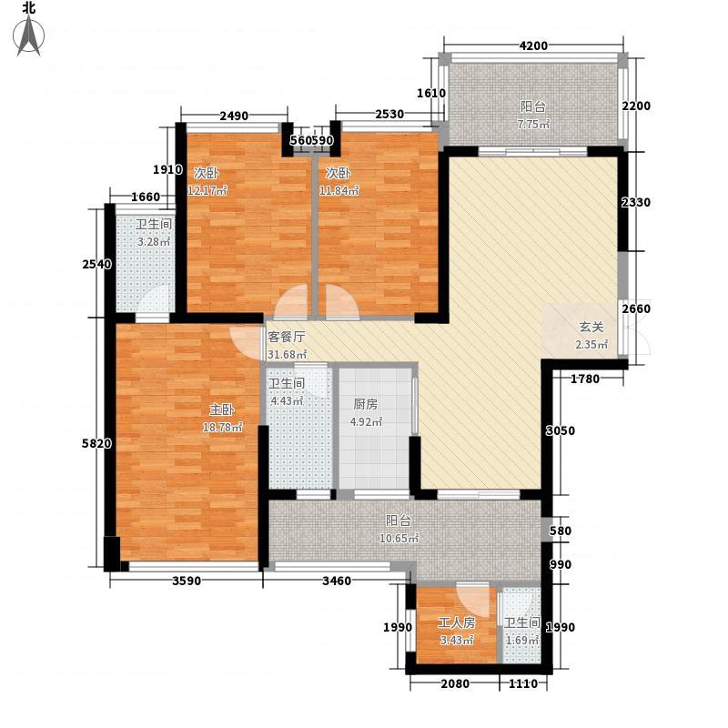 嘉宏世纪豪庭135.00㎡户型3室2厅2卫1厨