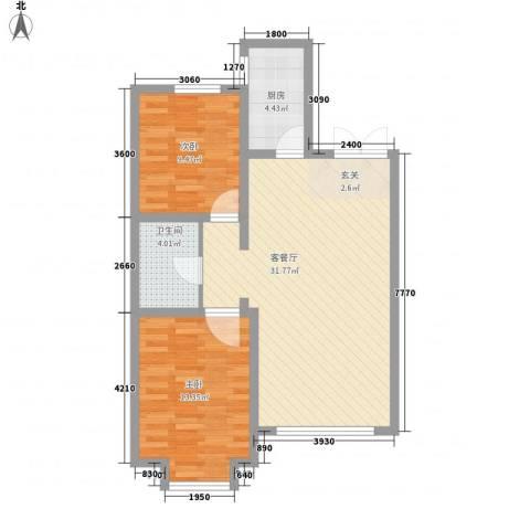 渤海玉园2室1厅1卫1厨63.04㎡户型图