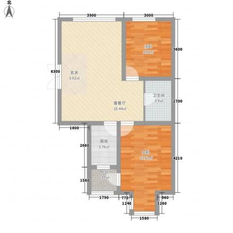渤海玉园2室1厅1卫1厨83.00㎡户型图