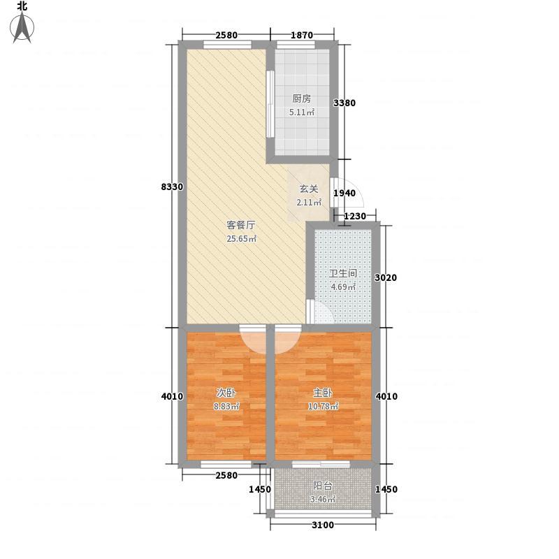 丰谷园86.00㎡户型2室2厅1卫1厨