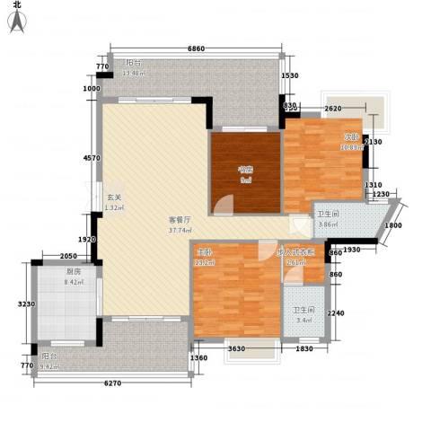 城市花园宝富阁3室1厅2卫1厨156.00㎡户型图