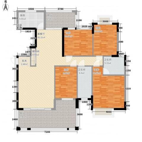 金迪星苑七期4室1厅2卫1厨132.08㎡户型图