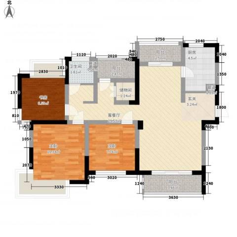 天一花园3室1厅1卫1厨70.62㎡户型图