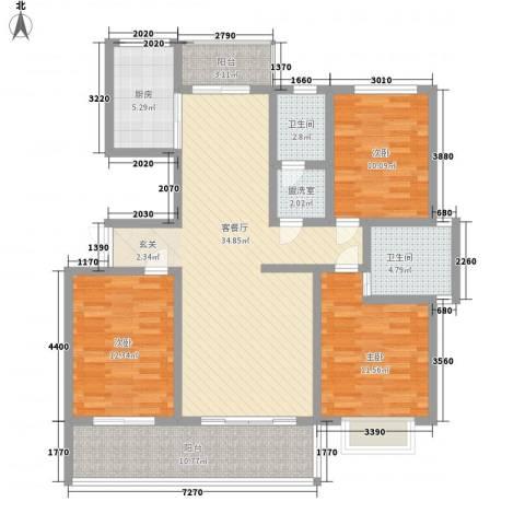 万泰秀水湾3室2厅2卫1厨143.00㎡户型图