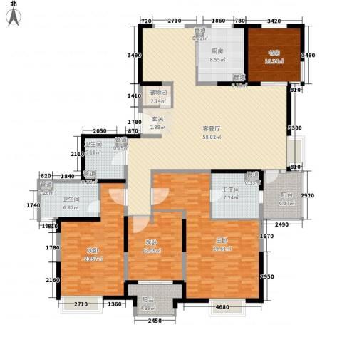 欧韵艺墅公寓4室1厅3卫1厨245.00㎡户型图