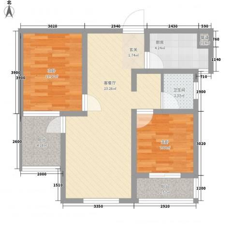 悦西湖・泊悦2室1厅1卫1厨80.00㎡户型图