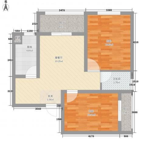 悦西湖・泊悦2室1厅1卫1厨85.00㎡户型图
