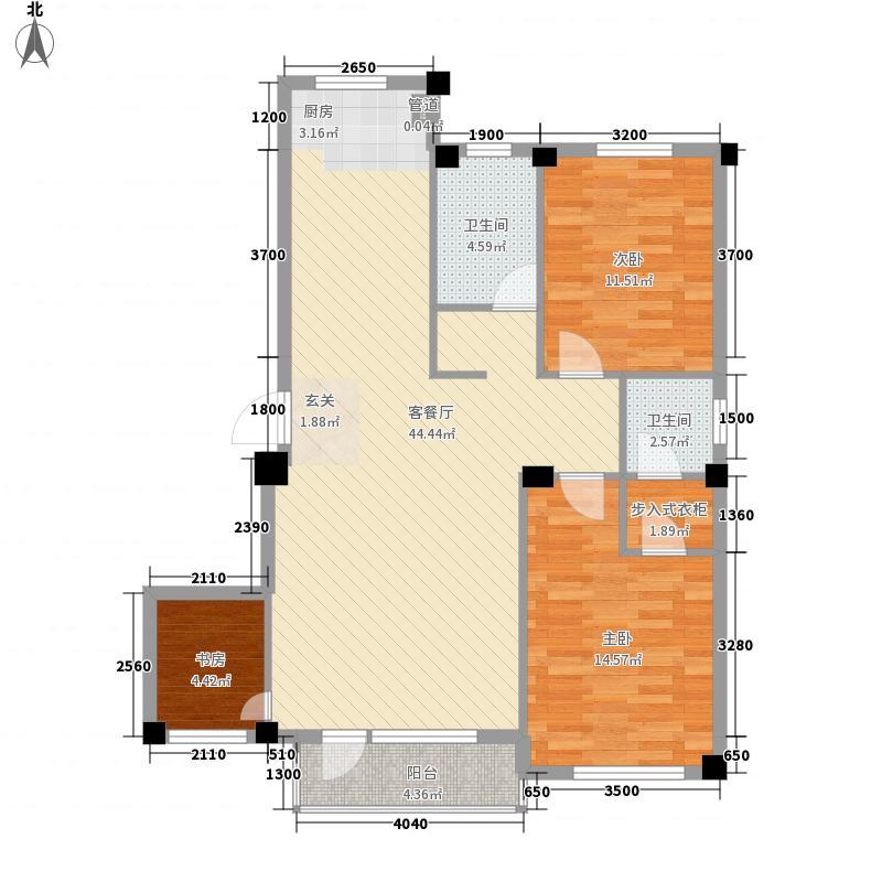 帝源温泉新城户型3室2厅2卫1厨