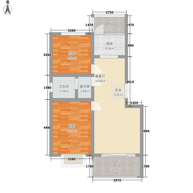 万泰秀水湾5.00㎡三期高层E户型2室2厅1卫1厨