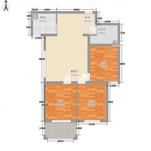 滏兴国际园二期3室1厅1卫1厨73.42㎡户型图