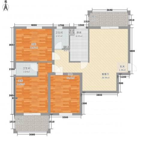 滏兴国际园二期3室1厅2卫1厨94.40㎡户型图