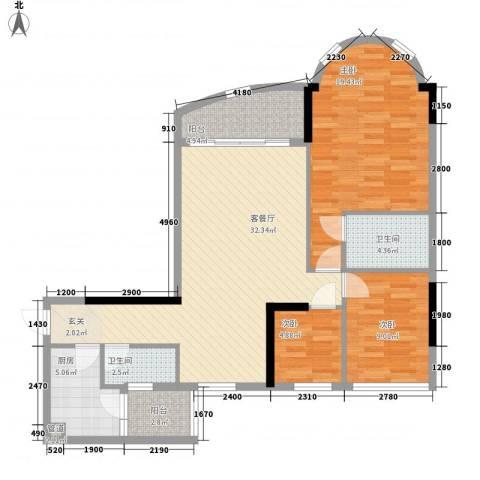 骏景花园骏盛轩3室1厅2卫1厨118.00㎡户型图