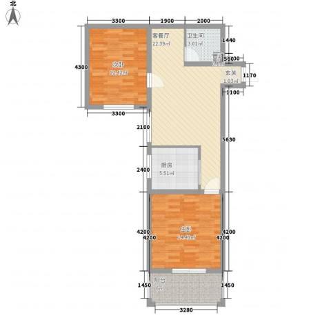 滏兴国际园二期2室1厅1卫1厨87.00㎡户型图