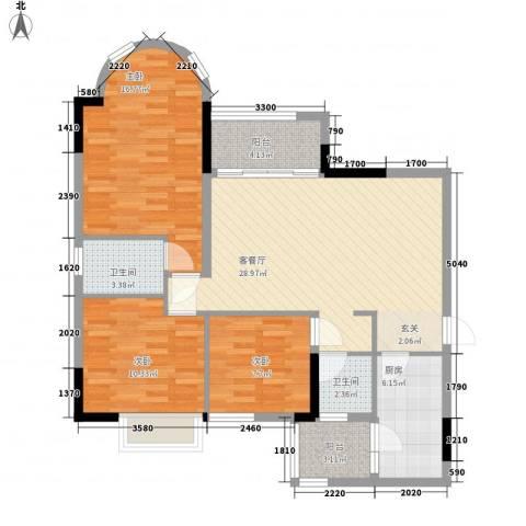 骏景花园骏盛轩3室1厅2卫1厨117.00㎡户型图