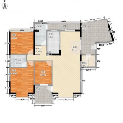 桃源居3室1厅2卫1厨141.00㎡户型图