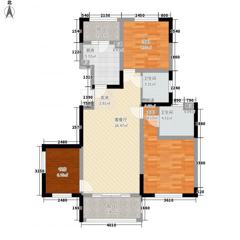 保利香槟国际115.00㎡1号楼标准层E户型3室2厅2卫1厨