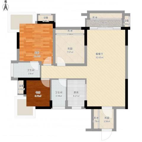 凯旋名门花园2室1厅2卫1厨115.00㎡户型图
