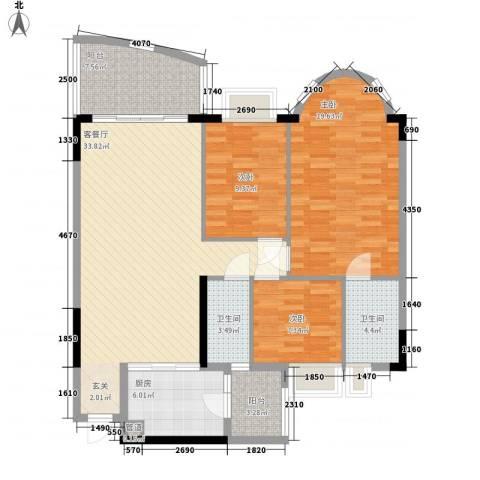 骏景花园骏盛轩3室1厅2卫1厨134.00㎡户型图