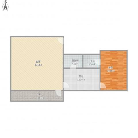 腾兴楼1室1厅2卫1厨99.00㎡户型图