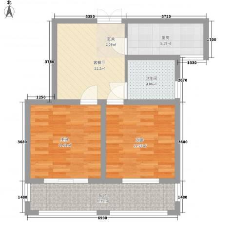 康桥郦湾2室1厅1卫1厨75.00㎡户型图