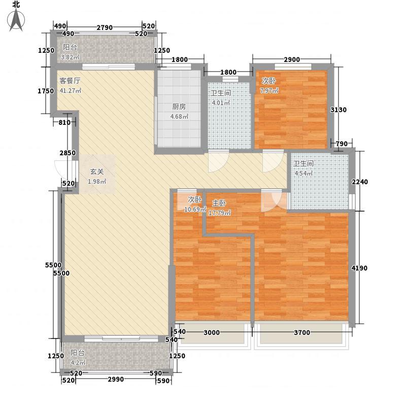 恒隆凯旋城128.40㎡G户型3室2厅2卫1厨