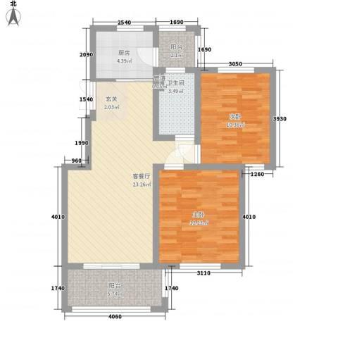 康桥郦湾2室1厅1卫1厨90.00㎡户型图