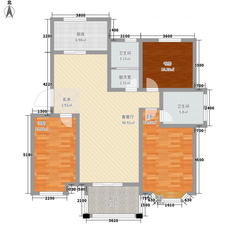 锦绣滨湖127.00㎡A2户型3室2厅2卫