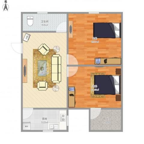 嘉绿景苑东西园2室1厅1卫1厨80.00㎡户型图