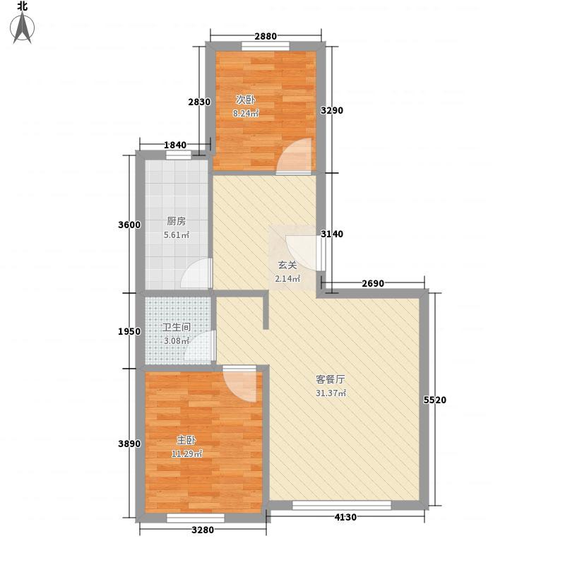 航空嘉园84.00㎡标准层B户型2室2厅1卫1厨