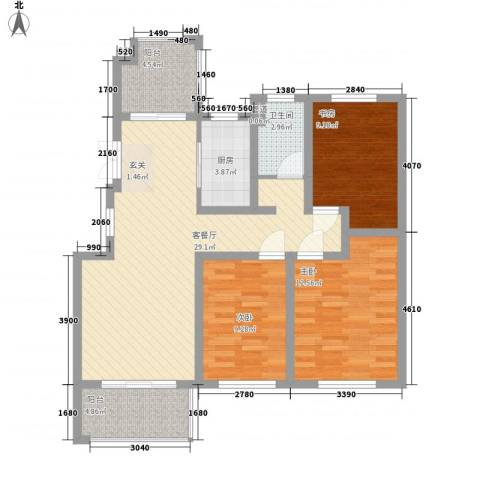 康桥郦湾3室1厅1卫1厨111.00㎡户型图