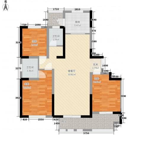 新铭基书香苑3室1厅2卫1厨124.00㎡户型图