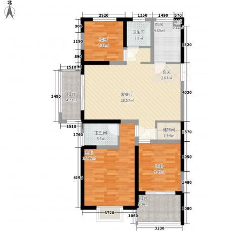 新铭基书香苑3室1厅2卫1厨121.00㎡户型图