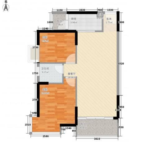 纳威人的幸福2室1厅1卫1厨62.60㎡户型图
