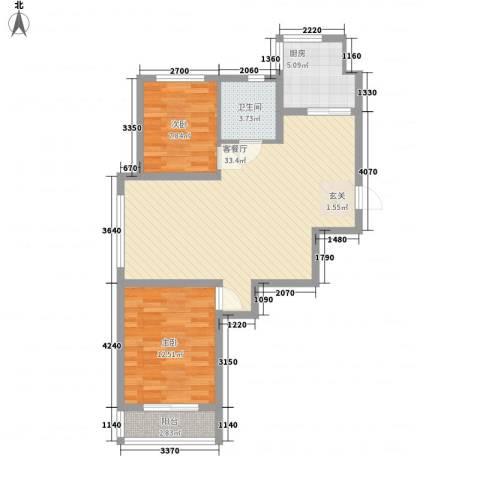 古耕景和园2室1厅1卫1厨91.00㎡户型图