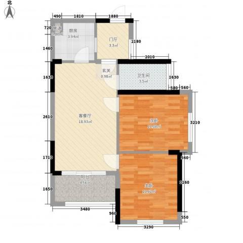 万科金域华府二期2室1厅1卫1厨64.55㎡户型图