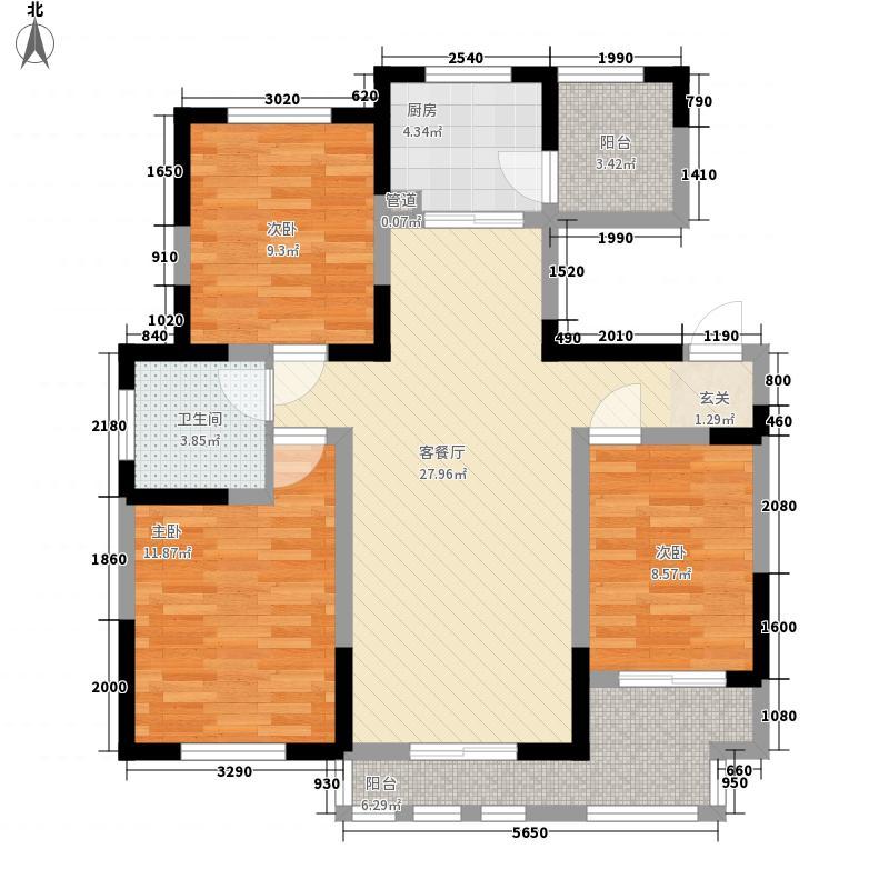 新铭基书香苑111.36㎡户型3室2厅1卫1厨