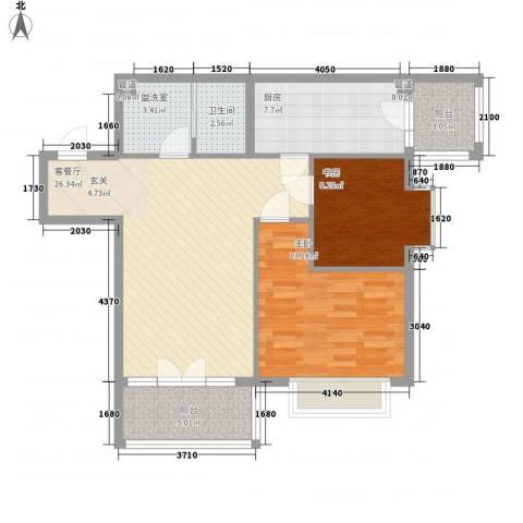 远大明珠2室2厅1卫1厨99.00㎡户型图