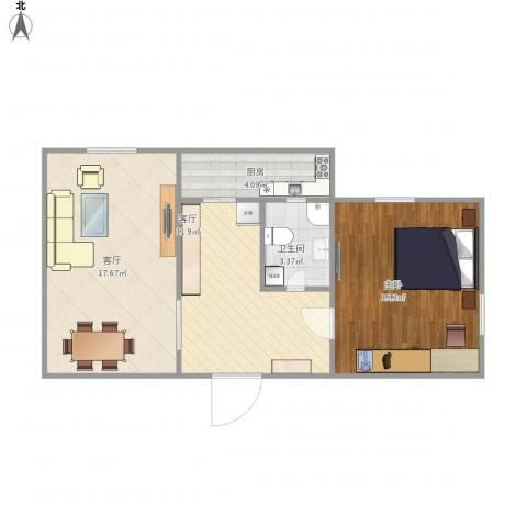 雅安东里1室2厅1卫1厨70.00㎡户型图