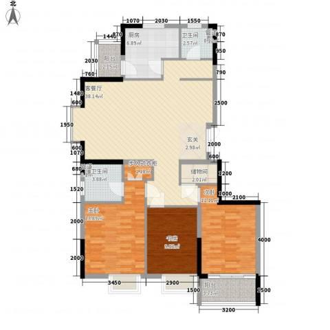 世纪之选花园3室1厅2卫1厨206.00㎡户型图