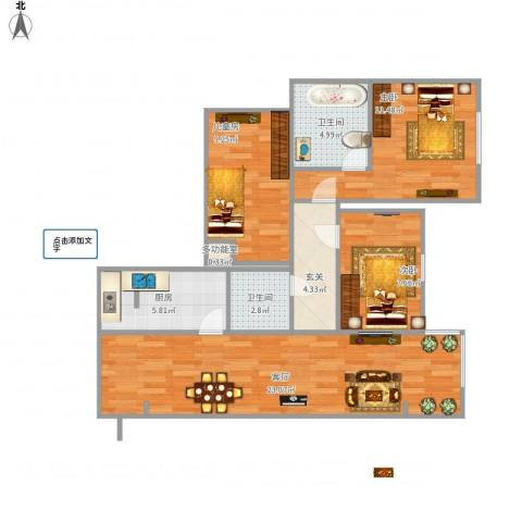 奈伦熙府3室1厅2卫1厨95.00㎡户型图