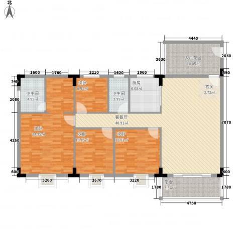 启明苑4室1厅2卫1厨126.49㎡户型图